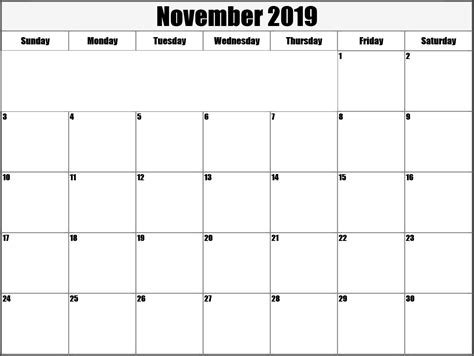 calendar easily edited template download november 2019 editable calendar template free