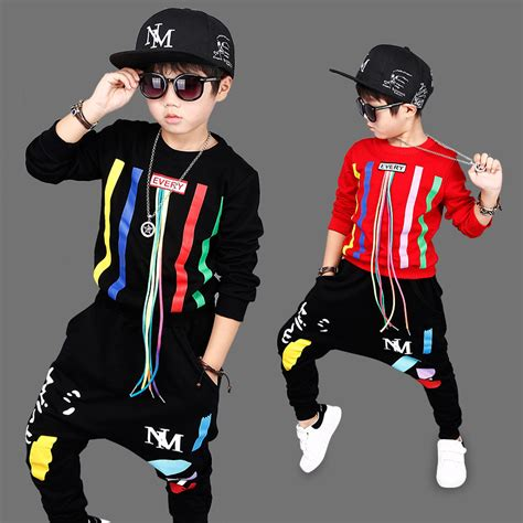 2017Autumn Boys Hip Hop Clothing Set Kids Color Bars Printing Dancing Clothes Children Sport ...