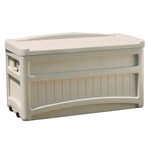 suncast 50 gallon deck boxstorage bench suncast deck store box with wheels next day delivery