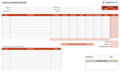 free expense report template free expense report templates smartsheet