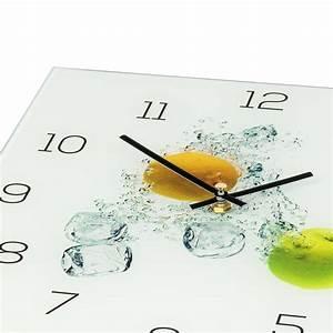 Wanduhr Aus Glas : wanduhr aus glas 30x30cm uhr als glasbild k che apfel zitrone zitrus levandeo ~ Buech-reservation.com Haus und Dekorationen