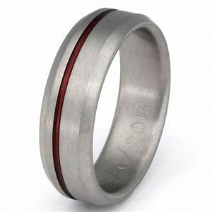 thin red line titanium band firefighter39s ring red With thin red line wedding ring