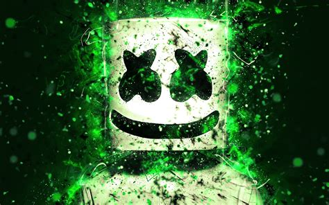 wallpaper marshmello neon art  creative graphics