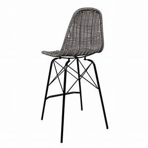 Chaise De Bar Grise : chaise de bar madagascar en r sine tress e grise lot de 2 ~ Voncanada.com Idées de Décoration