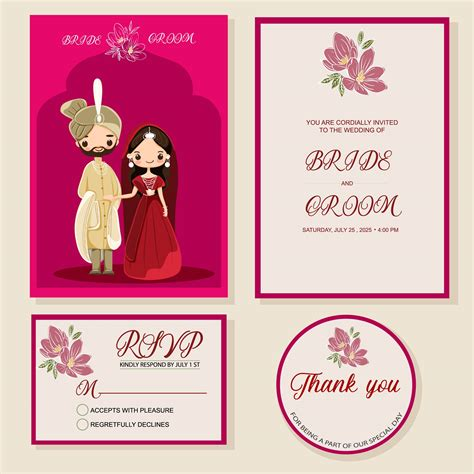 cute Indian bride and groom on wedding invitations card