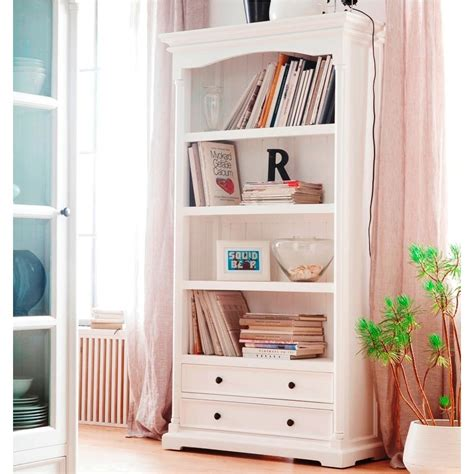 White Bookcase by Provence White Bookcase With 2 Drawers And 4 Shelf Spaces