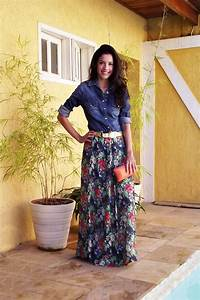 Printed long skirt with denim shirt //// style fashion what to wear how ideas idea fashion ...