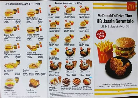 harga menu mcd gorontalo