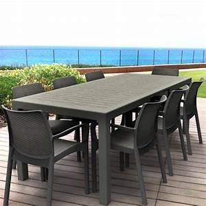 Leclerc Table De Jardin : salon de jardin table sonata 1m62 2m15 graphite 8 fauteuils bali graphite r sine ~ Teatrodelosmanantiales.com Idées de Décoration