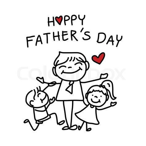 happy fathers day hand drawing stock vector colourbox