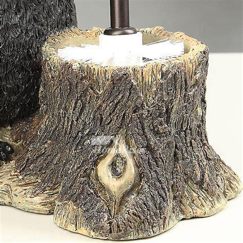 Decorative Toilet Brush Holder Bear Shaped Black Stand