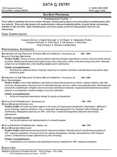 Data Entry For Resume by Data Entry Resume Sle Free Resume Template