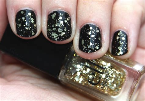 Black Nail Polish Gold Glitter