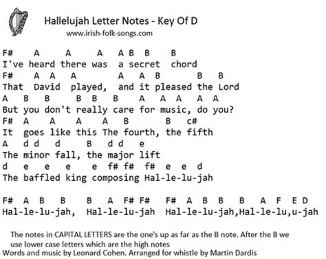 hallelujah tin whistle sheet  irish folk songs