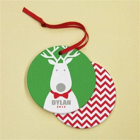 quot bow tie reindeer green quot personalized ceramic ornament