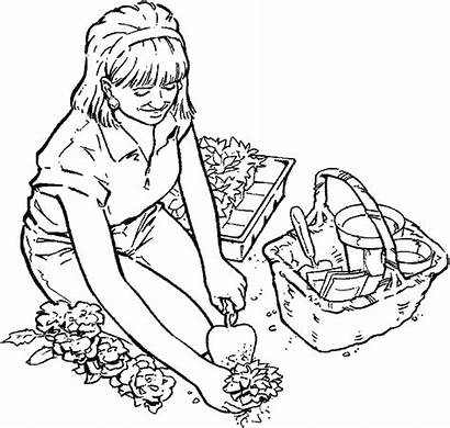 Coloring Pages Garden Gardening Planting