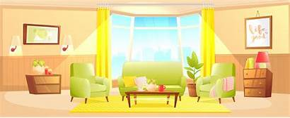 Living Interior Banner Clipart Cartoon Vector Background