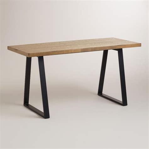 office furniture metal desk natural wood and blackened metal colton mix match desk