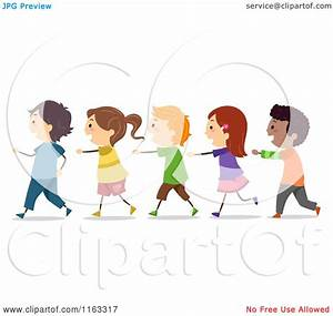 Cartoon of Happy Diverse Students Walking in a Single File ...