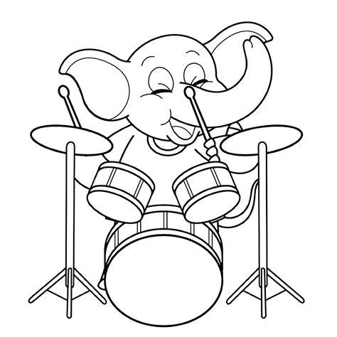 Kleurplaat Olifant Muziek by Leuk Voor Olifant Met Drumstel
