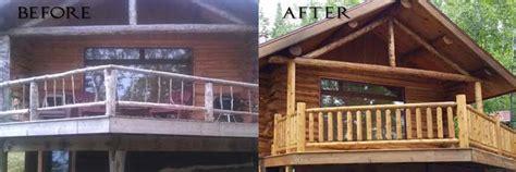 minnesota deck log railing staining restoration