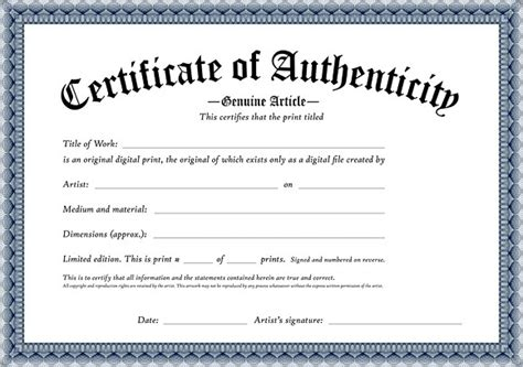 Certificate Of Authenticity Template by Certificate Of Authenticity Template Sanjonmotel
