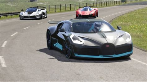 The car is named after french racing driver albert divo. Ferrari Xezri Competizione vs Ferrari FXX K Evo vs Bugatti Divo at Highlands - YouTube