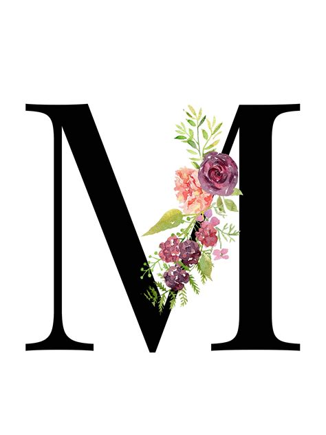 letter  floral monogram printable letter nursery art art prints baby girl nursery wall