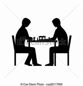 Vector Clipart of People playing chess vector silhouettes ...