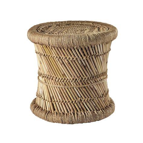 canape en osier tabouret tressé en fibres naturelles et bambou mogale