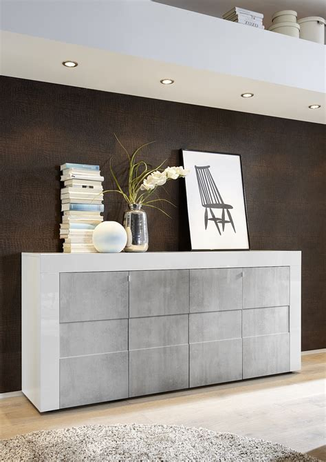 dionne white high gloss grey concrete sideboard