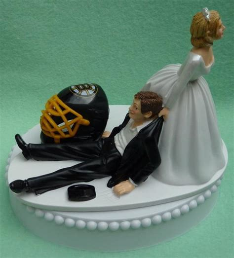 wedding cake topper boston bruins hockey themed  bridal