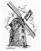 Windmill Drawing Dutch Colouring Windmills Mill Ham Wind Coloring West Langport Somerset England Tower Drawings Stembridge Near Paintingvalley sketch template