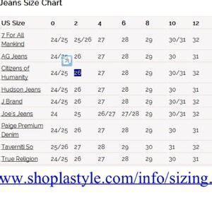 sizing chart  tinas closet  poshmark