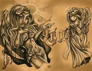 Angel Devil Tattoo Flash Art