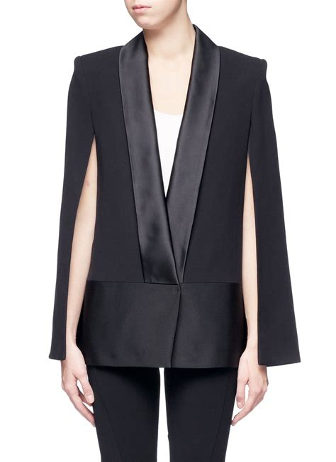 victoria beckham contrast collar silk wool cape jacket