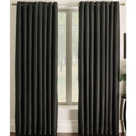 light filtering privacy curtains shop allen roth sullivan 84 in black polyester grommet