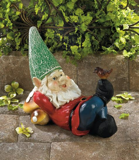 lazy gnome solar garden statue wholesale  koehler home decor