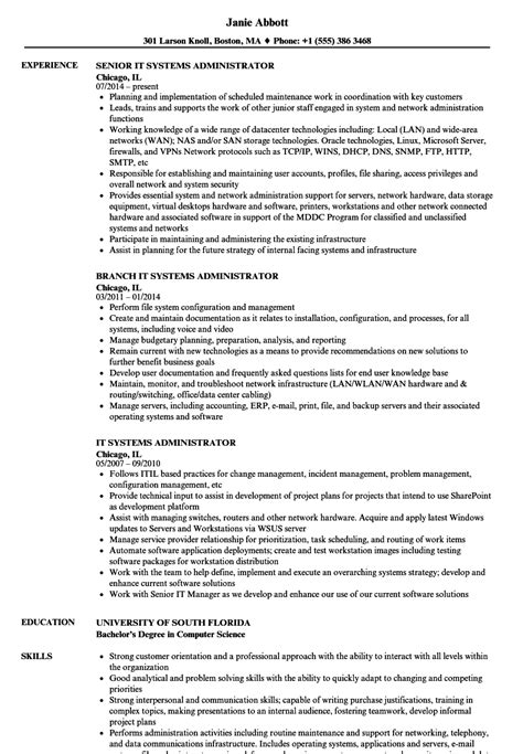 System Administrator Resume by It Systems Administrator Resume Sles Velvet
