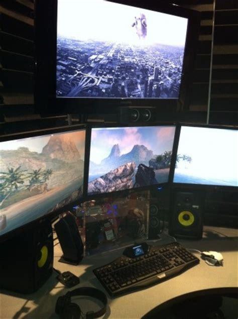 gaming computer desk for multiple monitors 109 best home office images on pinterest computer setup