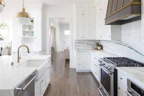 Light Grey KItchen Cabinets with Marble Slab Backsplash