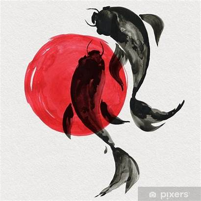 Koi Japanese Culture Painting Watercolor Fish Traditional