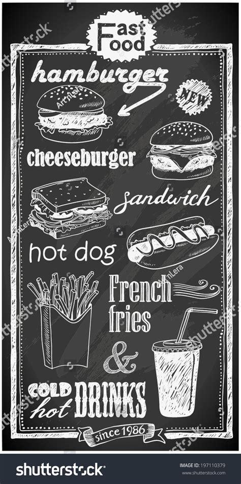 handdrawn fast food menu  chalkboard stock vector
