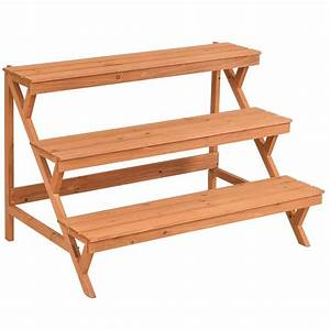 China, Wooden, Display, Rack, 3-tier, Wooden, Stand, Plant, Pot, Holder, Garden