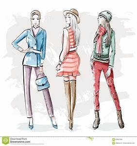 Günstige Kleider Für Junge Leute : hand gezeichnete junge frauen der mode stilvolle grafische m dchenclique skizze vektor abbildung ~ Markanthonyermac.com Haus und Dekorationen