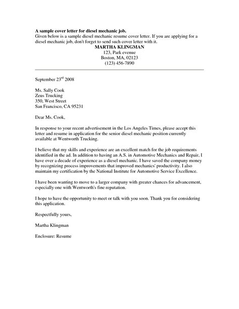 Diesel Mechanic Resume Cover Letter by Contract Mechanic Resume Sales Mechanic Lewesmr
