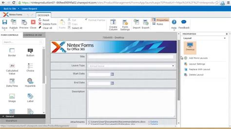 Office 365 Outlook Forms by Nintex Forms For Office 365 Connect To Your Workflows