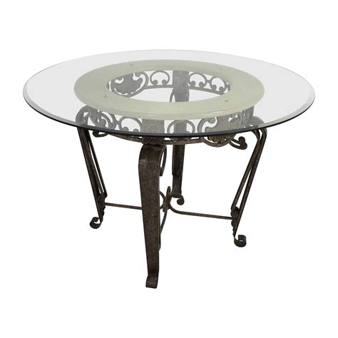 84 scroll metal and glass top dining table tables