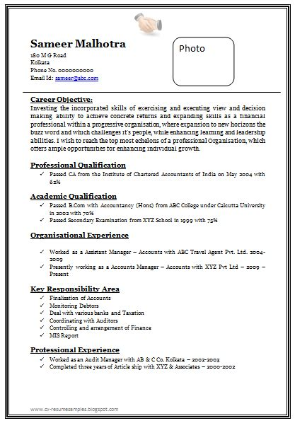 image result  resume format  experienced