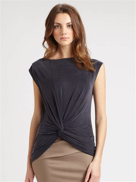 best of twisted lyst jersey twist front top in blue
